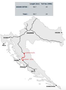 Mapa do pedágio entre Zadar e Plitvice